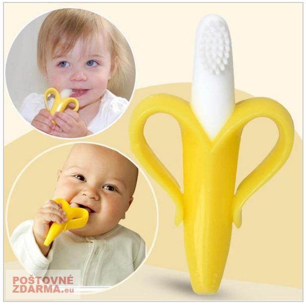 Dětský masážní zubní kartáček - banán / AS10-00012