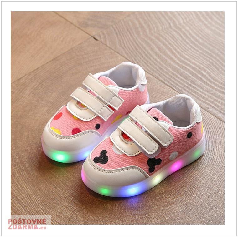 Dětské svítící boty - ružové / AD-00213b