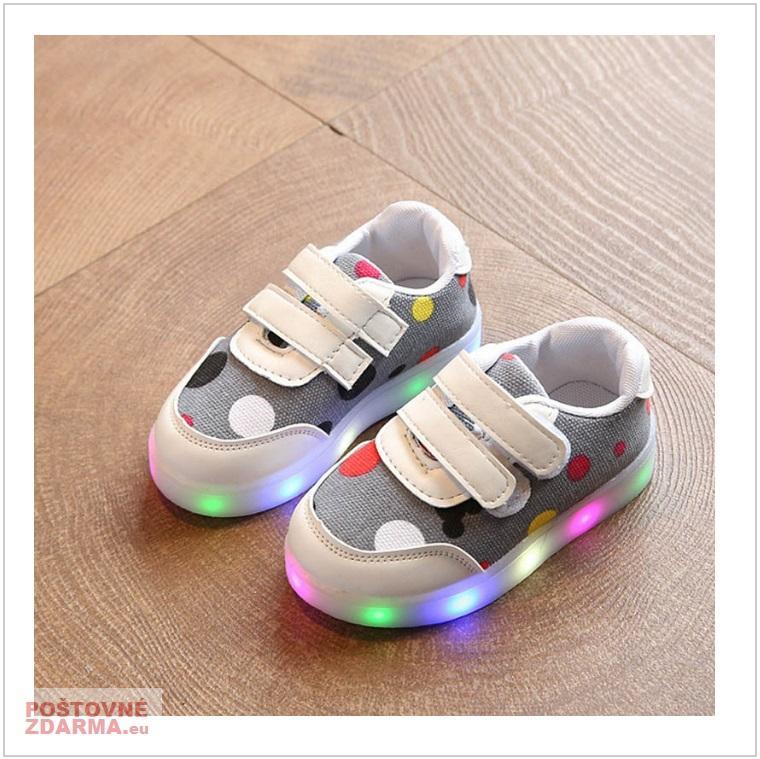 Dětské svítící boty - šedé / AD-00213c