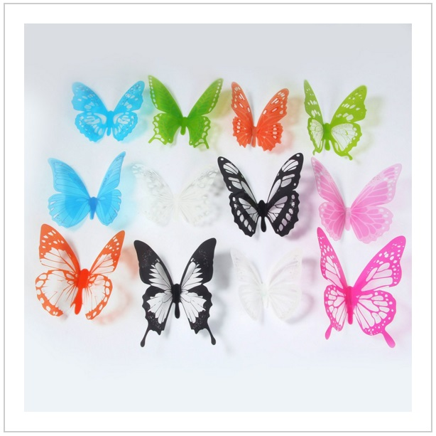 Dekorace na zeď - Motýli (12 ks)