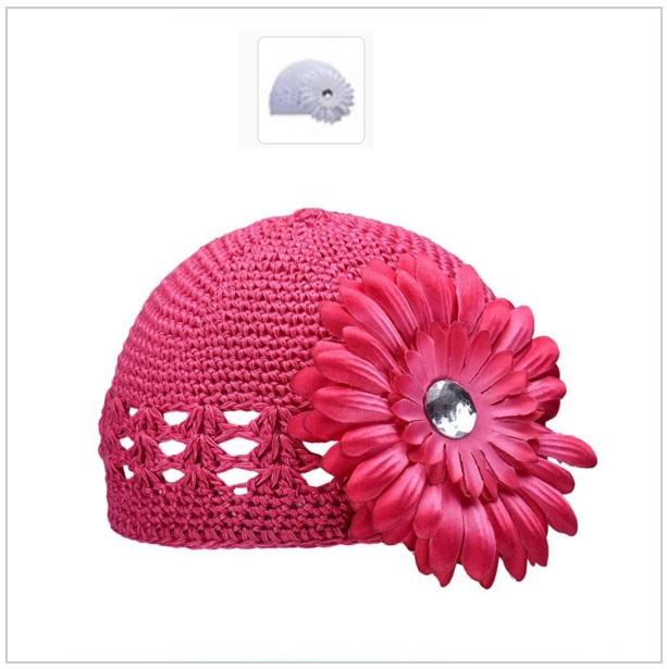 Dětská pletená čepice - růžová
