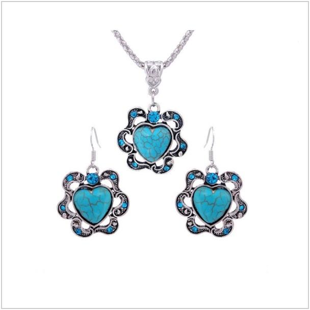 Dámský set s modrými kamínky