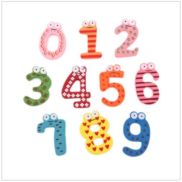 Dřevěné magnetky - čísla (10 ks)