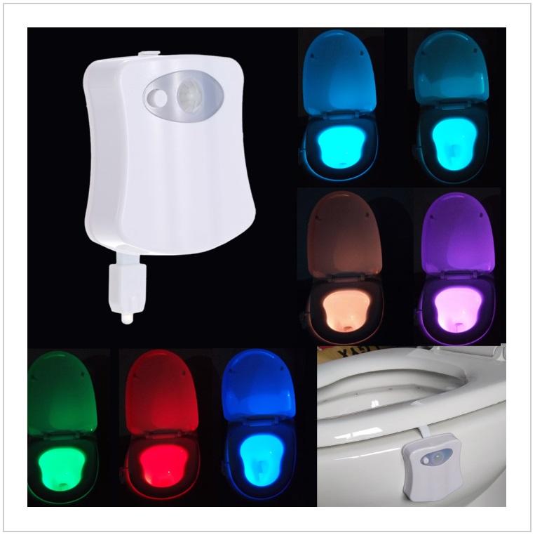 Automatické 8 barevné LED osvětlení toalety
